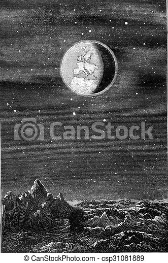 Earth from Moon, vintage engraving