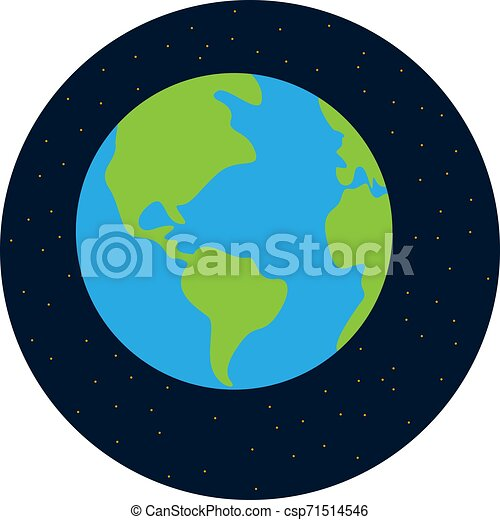 Earth from space, illustration, vector on white background. - csp71514546