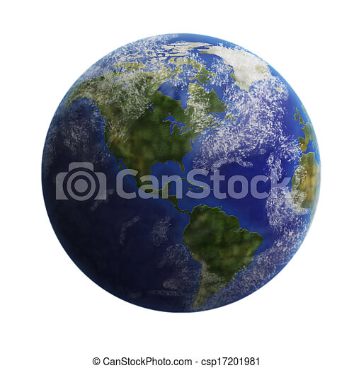 Earth from space isolated on white background. - csp17201981