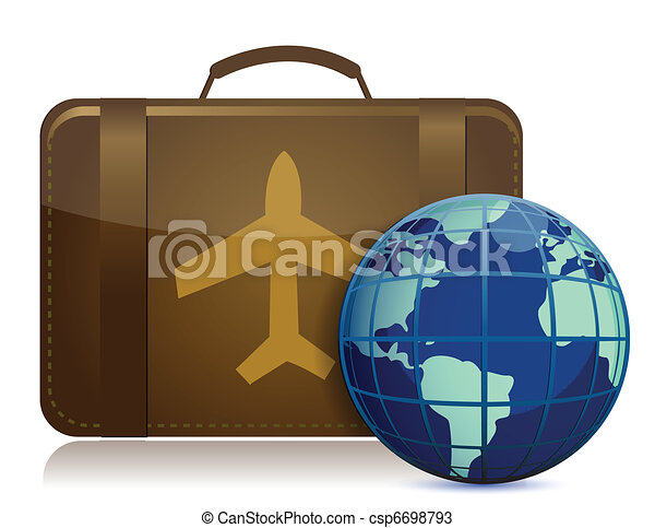 Earth globe and brown luggage - csp6698793