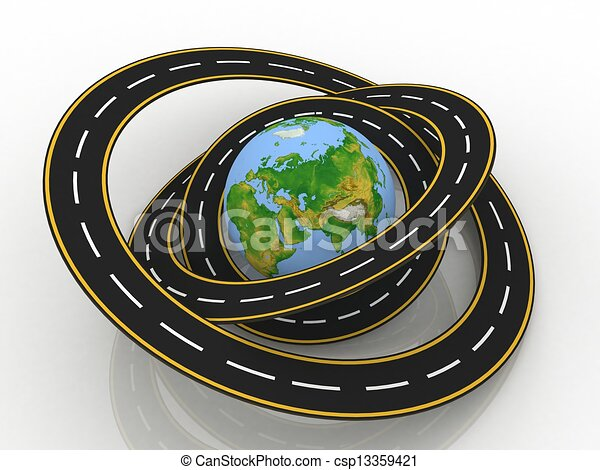 Line Art Earth : Earth globe and roads around it d illustration clip art search