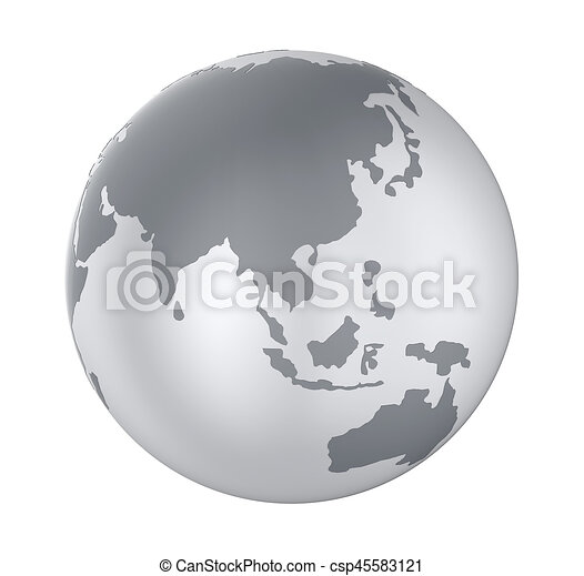 Earth Globe Asia View Isolated - csp45583121