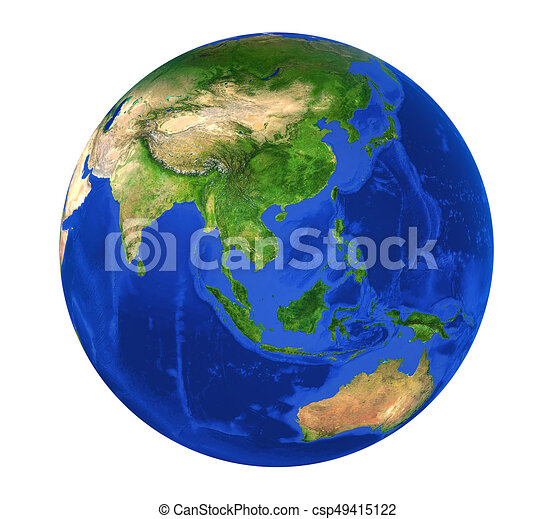 Earth Globe Asia View Isolated - csp49415122