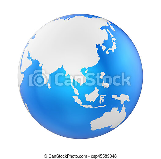 Earth Globe Asia View Isolated - csp45583048
