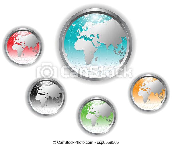 Earth globe button. - csp6559505