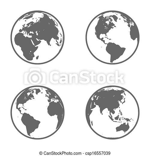 Earth Globe Emblem. Icon Set. Vector - csp16557039