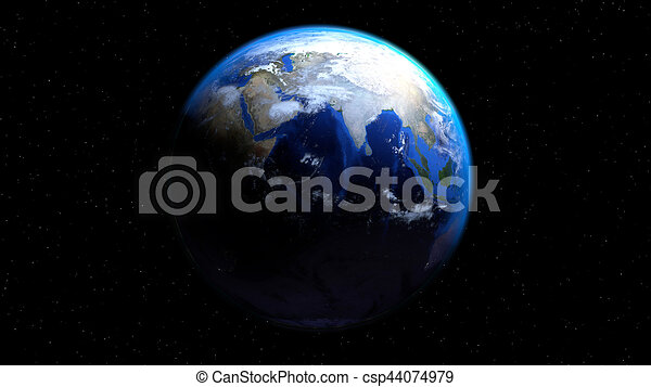 Earth globe from space with clouds, showing India and Middle East - csp44074979