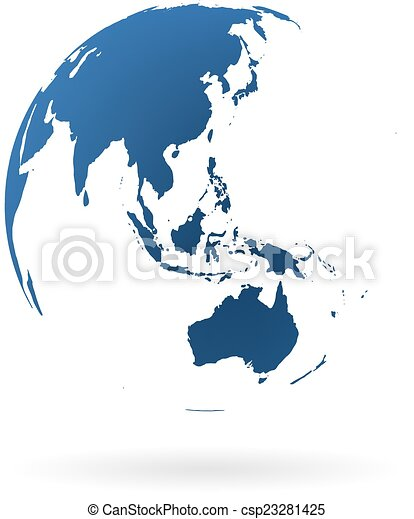 Highly detailed earth globe with australia new zealand and oceania earth globe csp23281425 gumiabroncs Gallery