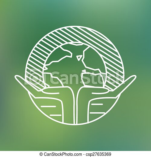 Earth globe in human hands planet protection care recycling save ecology concept linear icon - csp27635369