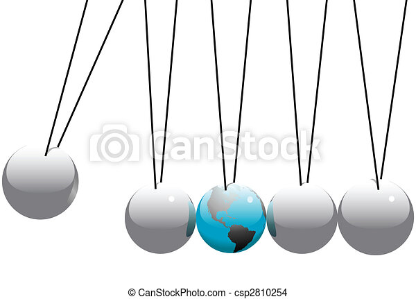 Earth Globe in Newtons Cradle Balls - csp2810254