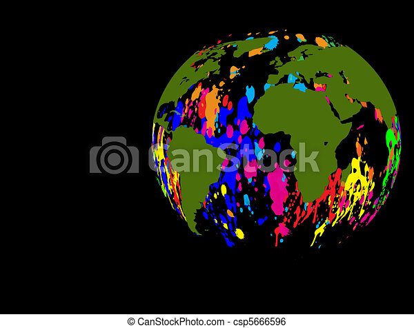 Earth globe ink splat - csp5666596