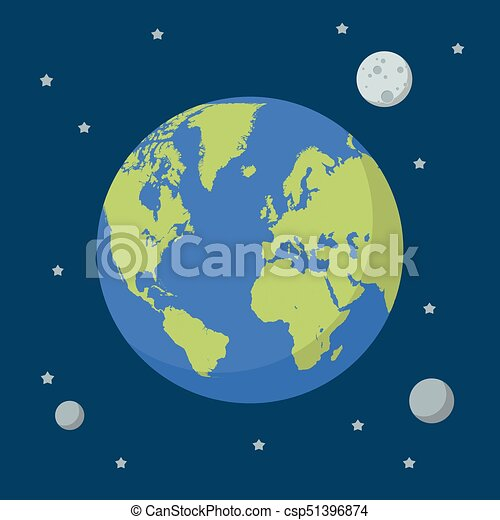 Earth globe on space background - csp51396874