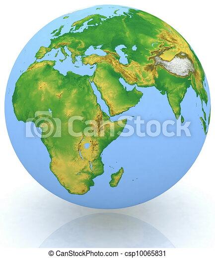 earth globe on white background - csp10065831