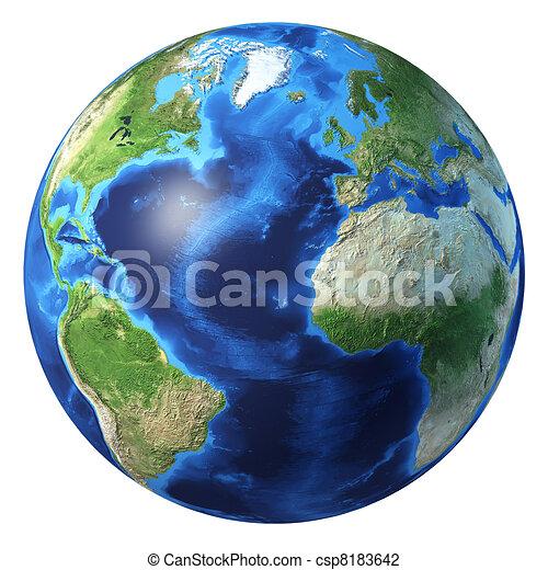 Earth globe, realistic 3 D rendering. Atlantic ocean view. - csp8183642