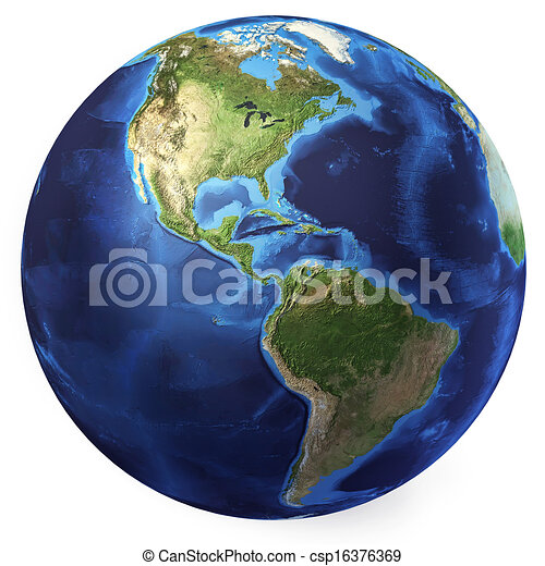 Earth globe, realistic 3 D rendering. Americas North and south view. On white background. - csp16376369