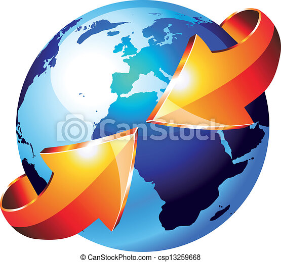 Earth Globe with an Arrow showing a recycle concept - csp13259668