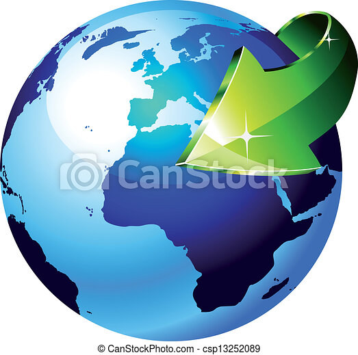 Earth Globe with an Arrow showing a recycle concept - csp13252089