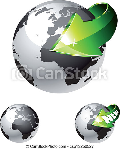 Earth Globe with an Arrow showing a recycle concept - csp13250527