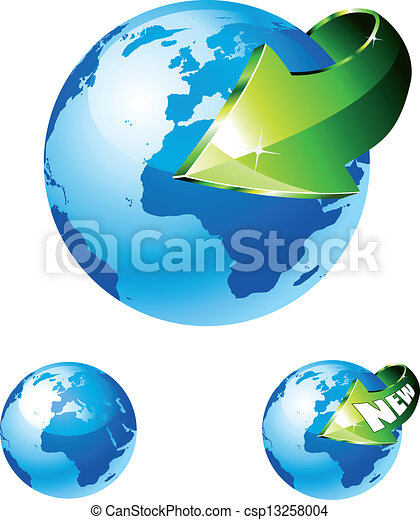Earth Globe with an Arrow showing a recycle concept - csp13258004