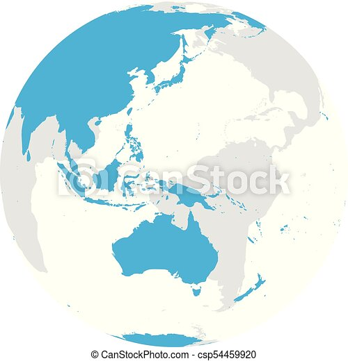 Australia Map Globe.Earth Globe With Blue World Map Focused On Australia And Pacific Flat Vector Illustration