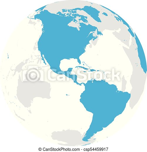 Earth Globe With Blue World Map Focused On Americas Flat Vector