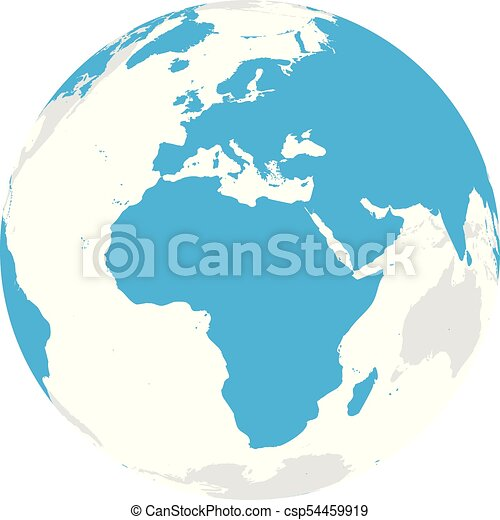 Earth globe with blue world map focused on africa and europe flat earth globe with blue world map focused on africa and europe flat vector illustration gumiabroncs Image collections