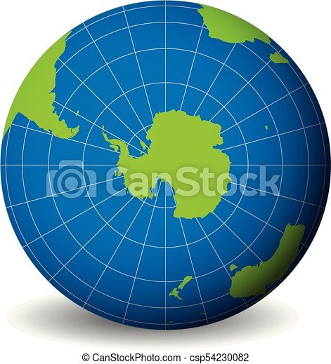 Earth globe with green world map and blue seas and oceans focused on  Antarctica with South Pole. With thin white meridians and parallels. 3D  vector ...