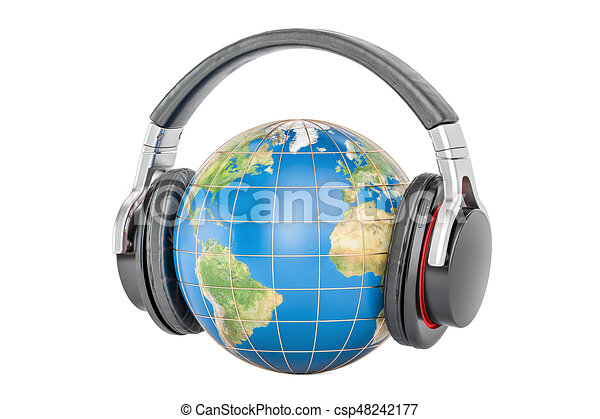 Earth globe with headphones, 3D rendering - csp48242177