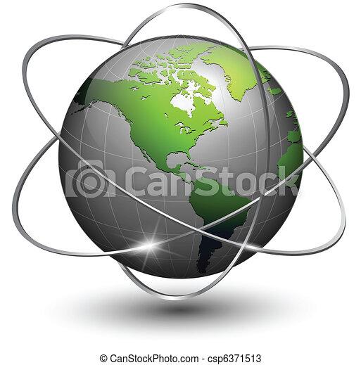 Earth globe with orbits - csp6371513