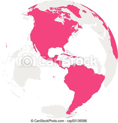 Earth globe with pink world map focused on americas flat vector earth globe with pink world map focused on americas flat vector illustration gumiabroncs Gallery