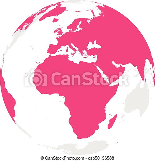 Earth globe with pink world map focused on africa and vector earth globe with pink world map focused on africa and europe flat vector illustration gumiabroncs Gallery