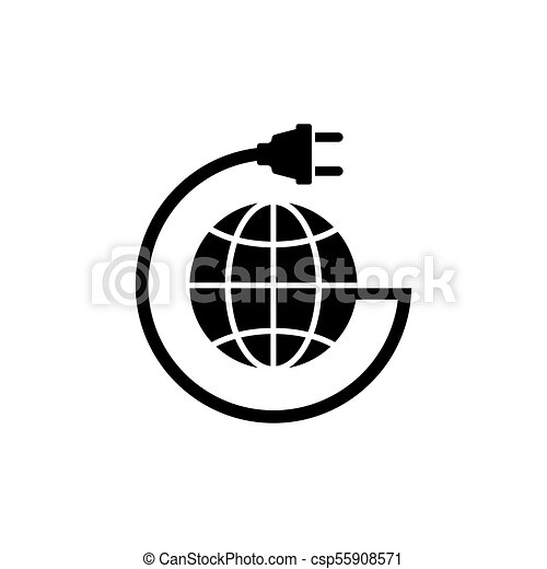 Earth Globe With Power Cable Flat Vector Icon Earth Globe With