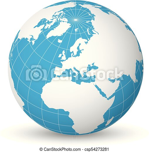 Earth globe with white world map and blue seas and oceans focused on earth globe with white world map and blue seas and oceans focused on europe with thin white gumiabroncs Image collections