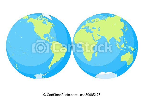 earth globe world map set planet with continentsafrica asia australia europe north america and south america