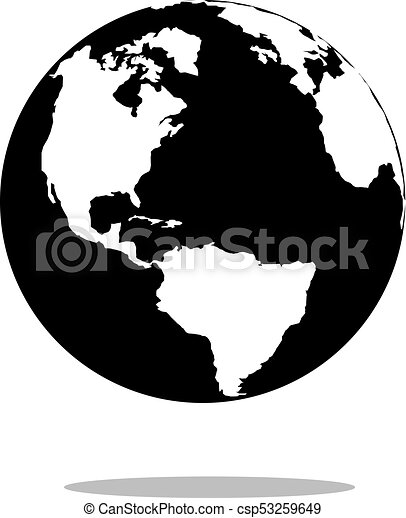 Earth globes isolated on white background. Flat planet icon design, vector illustration - csp53259649