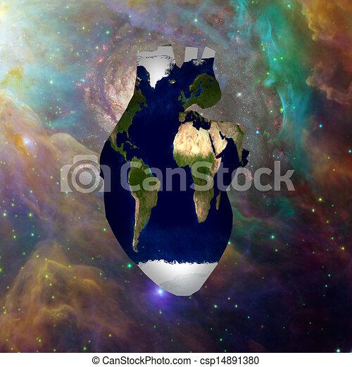 Earth Heart Cosmos - csp14891380