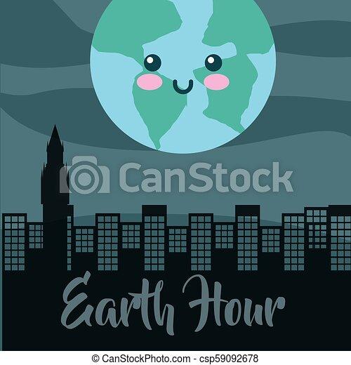 earth hour cartoon - csp59092678