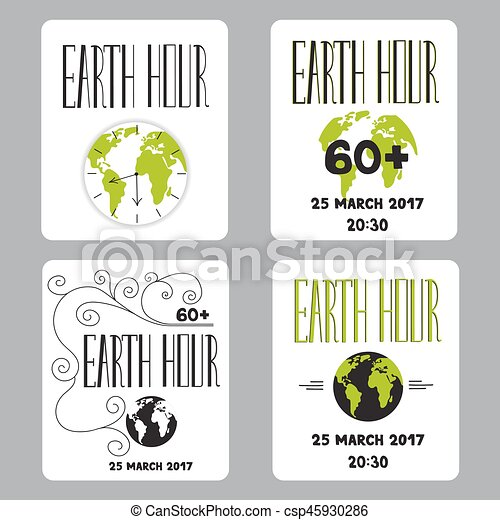 Earth hour set of cards vector set of small card templates earth hour set of cards csp45930286 m4hsunfo