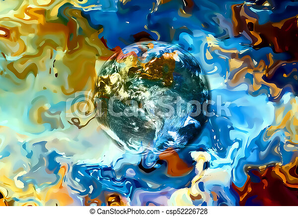 Earth in abstract background. Beautiful color background. - csp52226728