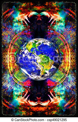 Earth in abstract background. Beautiful color background. - csp49021295