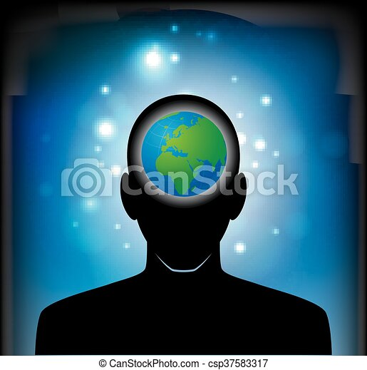 earth in human head - csp37583317