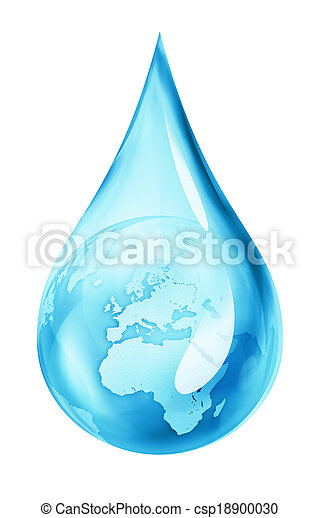 earth in water drop - csp18900030
