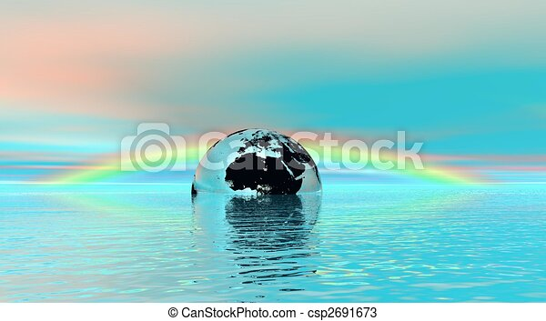 Earth In Water With Rainbow - csp2691673