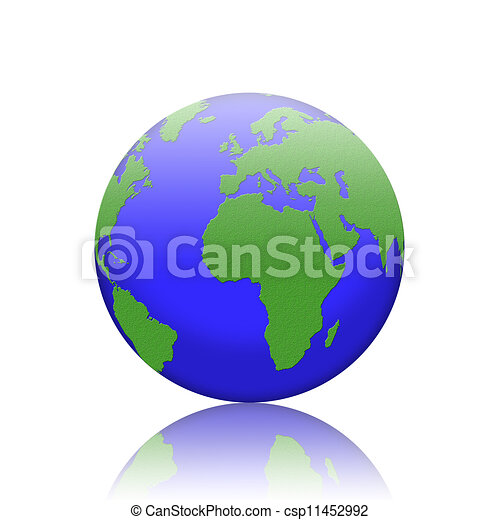 earth isolated on reflect floor and white background  - csp11452992