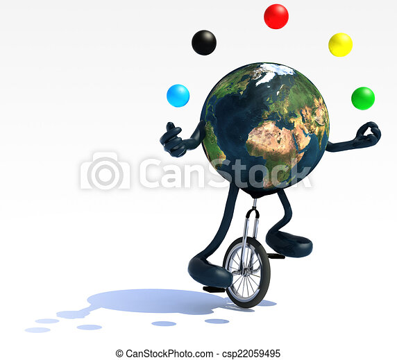earth juggle with arms and legs rides a unicycle - csp22059495