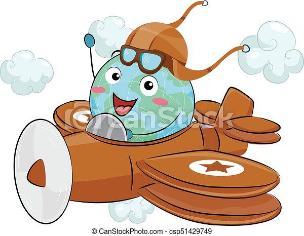 Earth Mascot Airplane Ride Retro Illustration