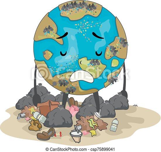Earth Mascot Garbage Illustration - csp75899041