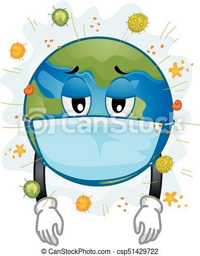 Earth mascot sick mask virus illustration. Illustration of ...