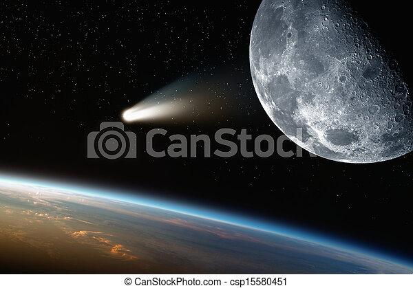 Earth, moon, comet in space - csp15580451