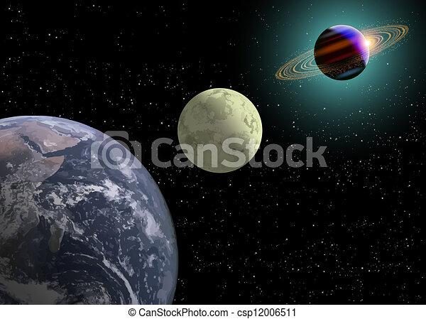 Earth Moon, Saturn With A New Sun - csp12006511
